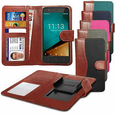 For HTC One mini 2 - Clip On Fabric / PU Leather Wallet Case Cover