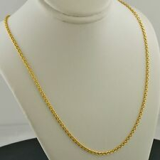 14K YELLOW GOLD 1.9MM SOLID ROUND CABLE LINK PENDANT CHAIN NECKLACE