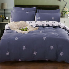 Grey Quilt Duvet Doona Cover Set Single Double Queen King Size Bedding Set NEW