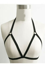 Gothic Goth Fetish Open Cup Cage Bra Charmed Halter Neck Harness Black