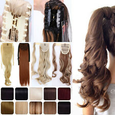 US Wrap Around Ponytail Clip in Hair Extension Claw Clip Drawstring Pony Tail T3