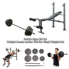 Gold Gym Bench XR6.1 Golds Weightlifting Benches with Bar and 100 lb Weights Set