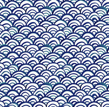 Navy Blue Waves Fabric Printed by Spoonflower BTY