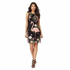 Butterfly By Matthew Williamson Womens Black And Pink Flamingo Print Dress