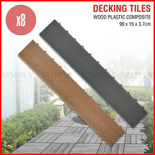 8x Decking Tiles DIY Outdoor Garden Wooden Plastic Composite Timber Flooring