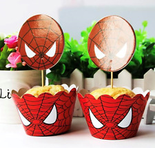 NEW Pack of 12 Spiderman Themed Party Cupcake Wrappers & Toppers