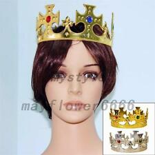 Plastic King Crown Hat Jeweled Regal Prince Princess Costume Showing Party
