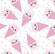 Kawaii Ice Cream Fabric Printed by Spoonflower BTY