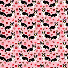 Pink Valentines Corgi Dog Fabric Printed by Spoonflower BTY