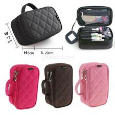 DOUBLE LAYERS WATERPROOF Travel Cosmetic Makeup Bag Toiletry Organizer Pouch NEW