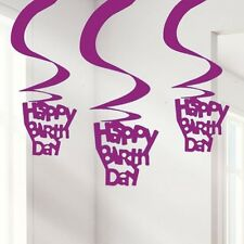 Happy Birthday Hot Pink Foil Hanging Swirl Decorations Ladies Milestone Party