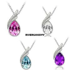 Fashion 18K GP crystal necklace pendant options 4colour VGY01