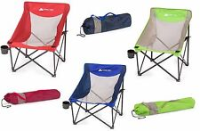 Folding Camp Sports Chair Outdoor Portable Beach Seat Cup Holder Steel Frame NEW
