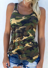 Woman Summer Casual Fashion Tee Camouflage T-Shirt Top Blouse Tank Cami Vest