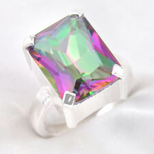 Rectangle Shaped Rainbow Colored Fire Mystic Topaz Silver Woman Ring Size 7 8 9