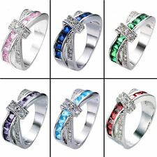 Fashion Women's Cross Rings Diamond Jewelry Wedding Engagement Ring Band Sz 5-12