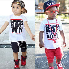 Hot Summer Baby Boy Girl T-shirt Tee Short Sleeve Casual Shirt Blouse Age 1-6Y