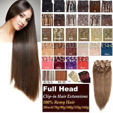 20inch 100% Remy Clip In Human Hair Extensions 70g/90g/100g/110g/160g Hair Set
