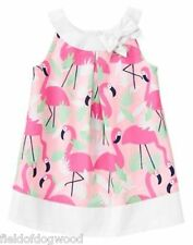 NWT Gymboree Fruit Punch Girls Flamingo all over dress 12 18M 2T