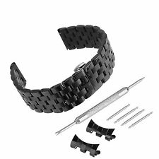 Solid Five Beads Stainless Steel Watch Band Replacement with Curved Straight End