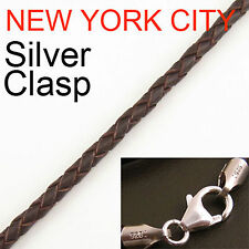 """3mm Brown Briaded Bolo Leather Cord Necklace 925 sterling Silver Clasp 22"""" NYC"""