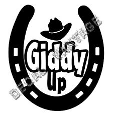 Horseshoe Giddy Up Hat Vinyl Sticker Decal Luck Horse Shoe - Choose Size & Color