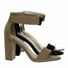 Elton Chunky Block Heel High Heel Open Toe Stilettos, Womens Ankle Strap Sandal