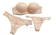 3 pcs Victoria's Secret Bombshell strapless add 2 cups lace Push Up Bra Set nude