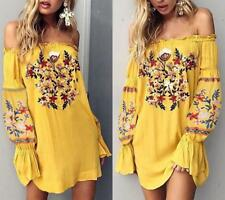 Vintage Hippie Boho Floral EMBROIDERED Mini Dress Linen Summer Yellow Bohemian