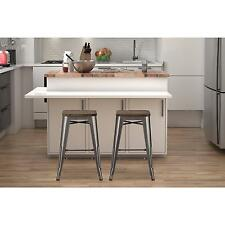 "Dorel Home Products Fusion 24"" Metal Backless Counter Stool with Wood Seat,..."