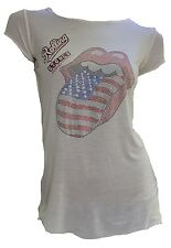 Amplified Official ROLLING STONES Strass USA Tour Tongue Rock Star ViP T-Shirt S