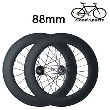 New 88mm Clincher Carbon Wheels Road Bicycle Road Bike Track Fixed Gear Wheelset