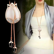 Women's Beautiful Tulip Flower Pendant Rhinestone Sweater Long Necklace Fashion