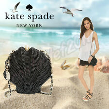 Kate Spade WICKER CLAM SHELL Splash Out Clutch/Crossbody Bag in BLACK NWT!