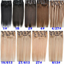 8A Grade 22'' 100g 8pcs/Set 100% Remy Human Hair Clip In Human Hair Extensions