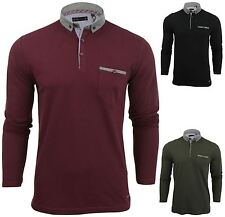 New Mens Button Up Long Sleeve Collared Pique Casual Formal Polo Shirt Jumper