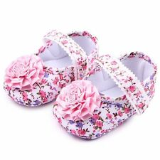 NEW Baby Girl Pink Floral Mary Jane Flower Crib Shoes 0-6 6-9 9-12 Months
