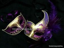 Purple Masquerade feather mask pair Halloween Costume Prom Dance Dress up Party