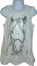 USED Girls F&F White Sequin Horse Decal Top Size 8-9 Yrs (D.S)