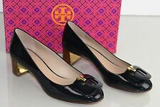 NEW Tory Burch T Ring 50 Pumps Soft Patent Leather Tory Navy Blue Shoes 9 9.5