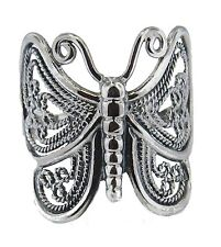 Sterling Silver Detailed Filigree Butterfly Ring Size 6-10