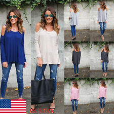 Women Casual Cold Shoulder Long Sleeve Loose Hem Tops Sling T-Shirt Tee Blouse