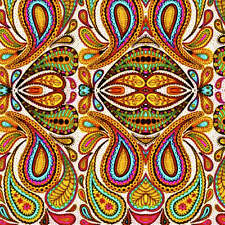 Psychedelic Paisley Polka Rainbow Summer Fabric Printed by Spoonflower BTY