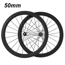 700C 50mm Clincher Tubular 3K Carbon Wheels Road Bike Bicycle Wheelset