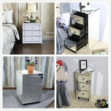 Mirrored Furniture Glass Bedside Cabinet Table With 3 Drawer Bedroom Nightstand