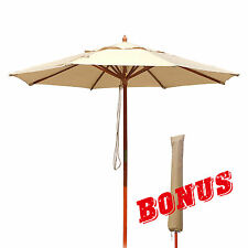 Commercial Market Umbrella-9ft Wooden Outdoor Sunshade Yard Patio Beige Burgundy