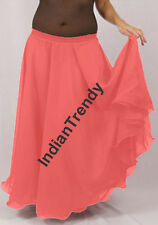Salmon - 2 Layer Reversible Skirt Belly Dance Gypsy 9 Yd Fulll Circle Jupe Gonna
