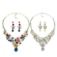 Women Alloy Crystal Colorful Butterfly Necklace and Earring Set Bridal Jewelry
