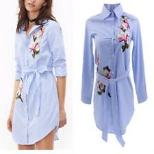 Ladies Women's Pinstripe Floral Embroidered Waist Belted Long Sleeve Shirt Dress