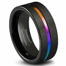 Black Tungsten Carbide Wedding Band 8mm Colorful Rainbow Couple Ring Size 6-13
